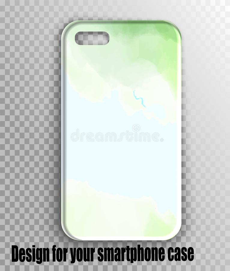 Disposição à moda da tampa do iPhone do iPhone - verde da aquarela, cópia fresca da mola fotos de stock royalty free