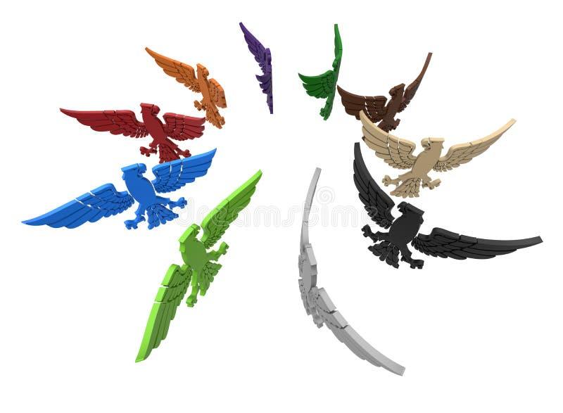 Disposição circular das águias majestosas ilustração do vetor