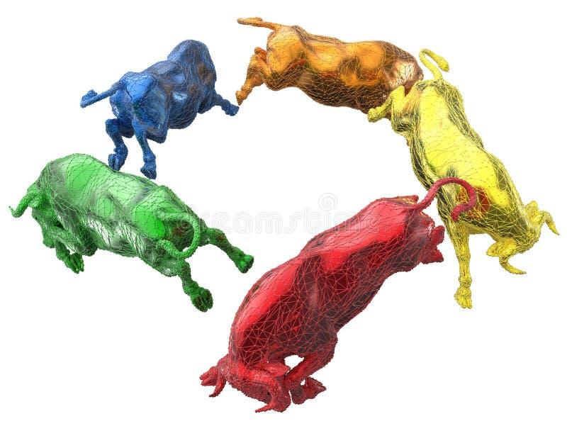 Disposição circular dos touros de Digitas ilustração stock