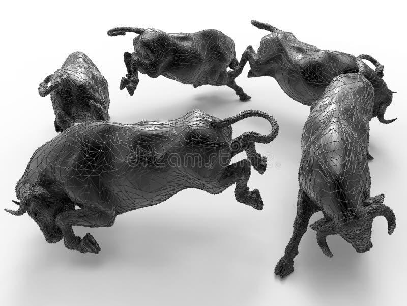 Disposição circular dos touros de Digitas ilustração royalty free