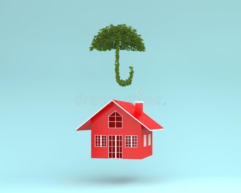 Disposição criativa da casa vermelha com o guarda-chuva da planta que flutua em azul imagens de stock royalty free