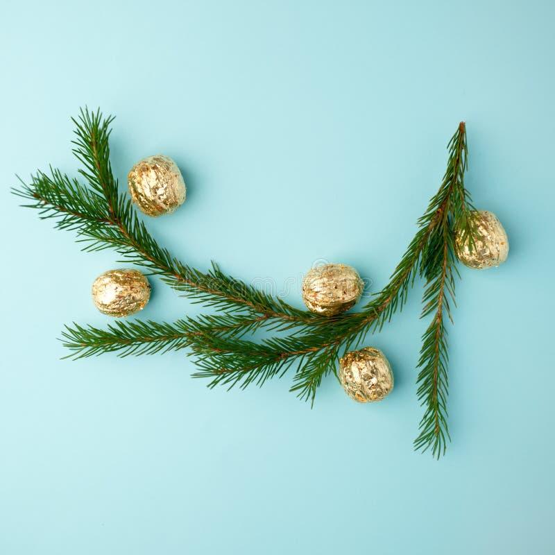 A disposição criativa de Chistmas fez das hortaliças do inverno e da decoração dourada no fundo azul fotografia de stock