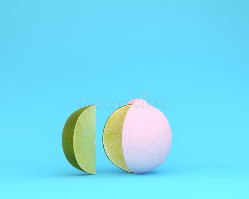 A disposição criativa feita de às bolinhas do rosa do limão separa partes sobre ilustração stock