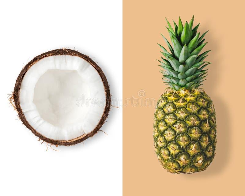 Disposição criativa feita do coco e do abacaxi fotografia de stock royalty free