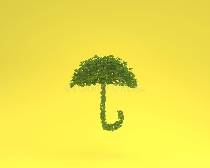 Disposição criativa feita do guarda-chuva da planta que flutua na cor pastel amarela imagens de stock