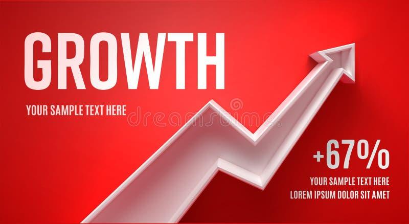 Disposição da apresentação do negócio com crescimento da seta 3d em um fundo azul com sombra imagens de stock