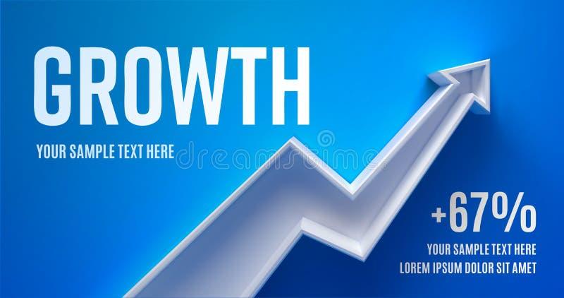 Disposição da apresentação do negócio com crescimento da seta 3d em um fundo verde com sombra fotografia de stock