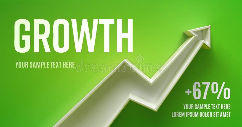 Disposição da apresentação do negócio com crescimento da seta 3d em um fundo vermelho com sombra imagem de stock