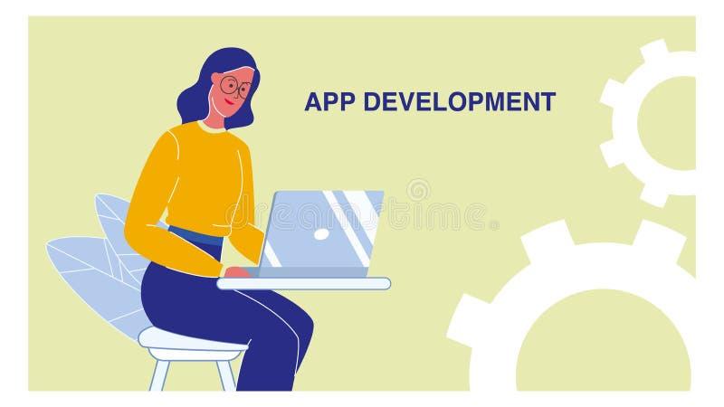 Disposição da bandeira da Web do vetor do desenvolvimento do App com texto ilustração royalty free