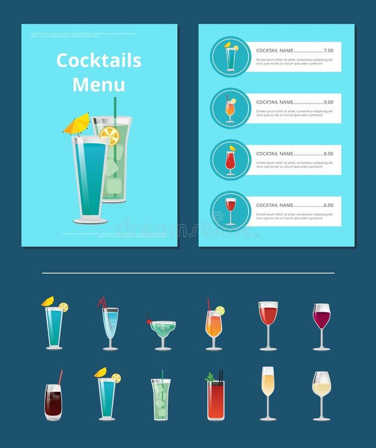 Disposição da barra de menu dos cocktail com bebidas alcoólicas ilustração do vetor