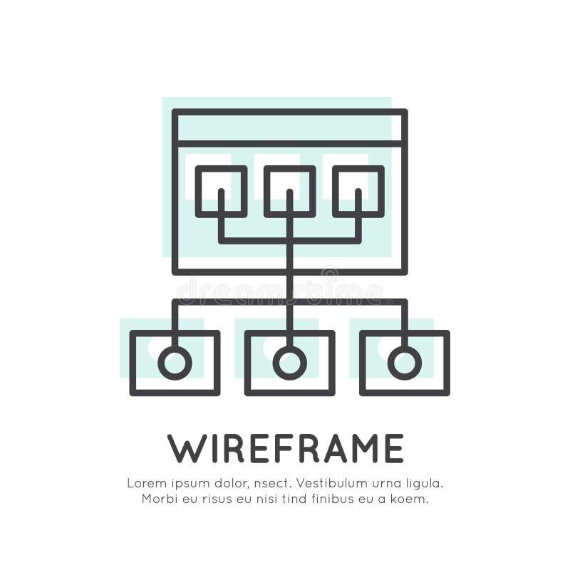 Disposição da estrutura de Wireframe ilustração do vetor
