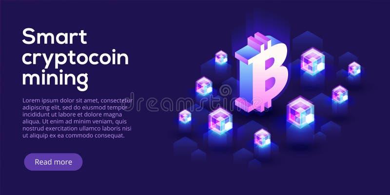 Disposição da exploração agrícola da mineração de Cryptocoin Cryptocurrency e rede do blockchain ilustração do vetor