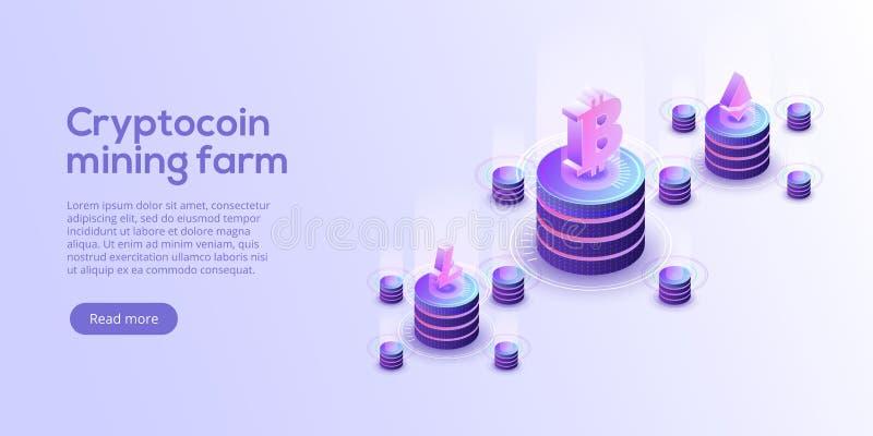 Disposição da exploração agrícola da mineração de Cryptocoin Cryptocurrency e rede do blockchain ilustração royalty free