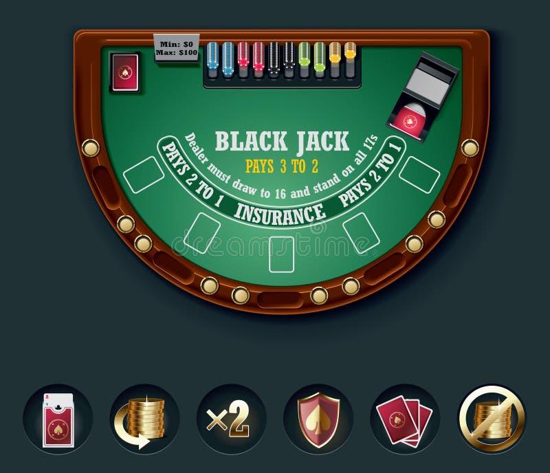Disposição da tabela do blackjack do vetor ilustração do vetor
