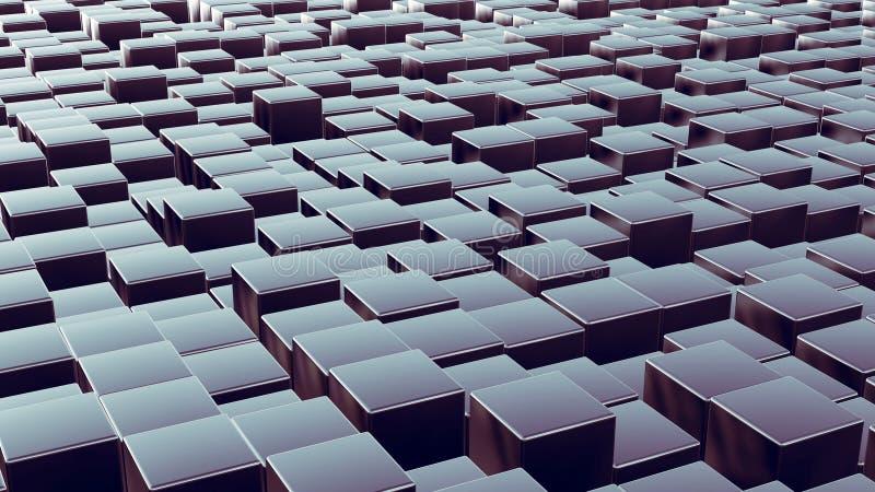 Disposição das caixas do metal como o fundo 3d abstrato ilustração stock