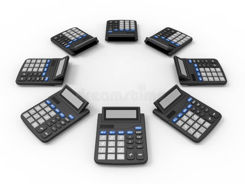 Disposição das calculadoras ilustração do vetor