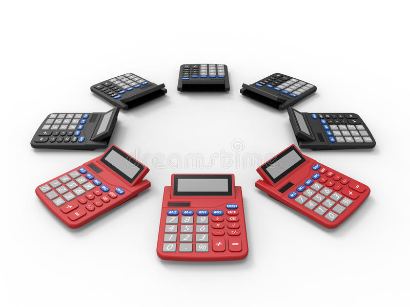 Disposição das calculadoras ilustração royalty free
