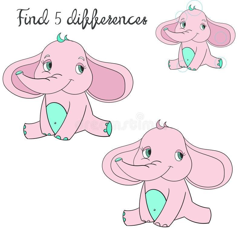 Disposição das crianças das diferenças do achado para o elefante do jogo ilustração stock