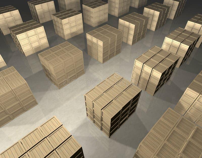 Disposição de caixas de madeira ilustração royalty free