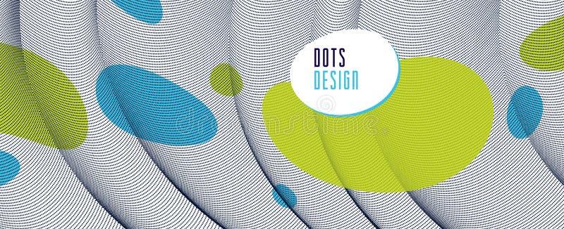 Disposição de fluxo dos pontos de partículas dinâmicas no movimento, no fundo do vetor do estilo moderno na moda, na ciência e no ilustração stock