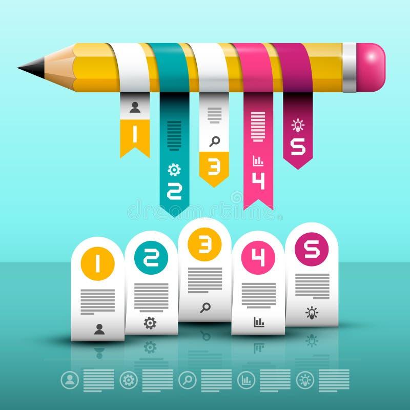 Disposição de Infographic Design web de Infographics do vetor com lápis grande ilustração royalty free
