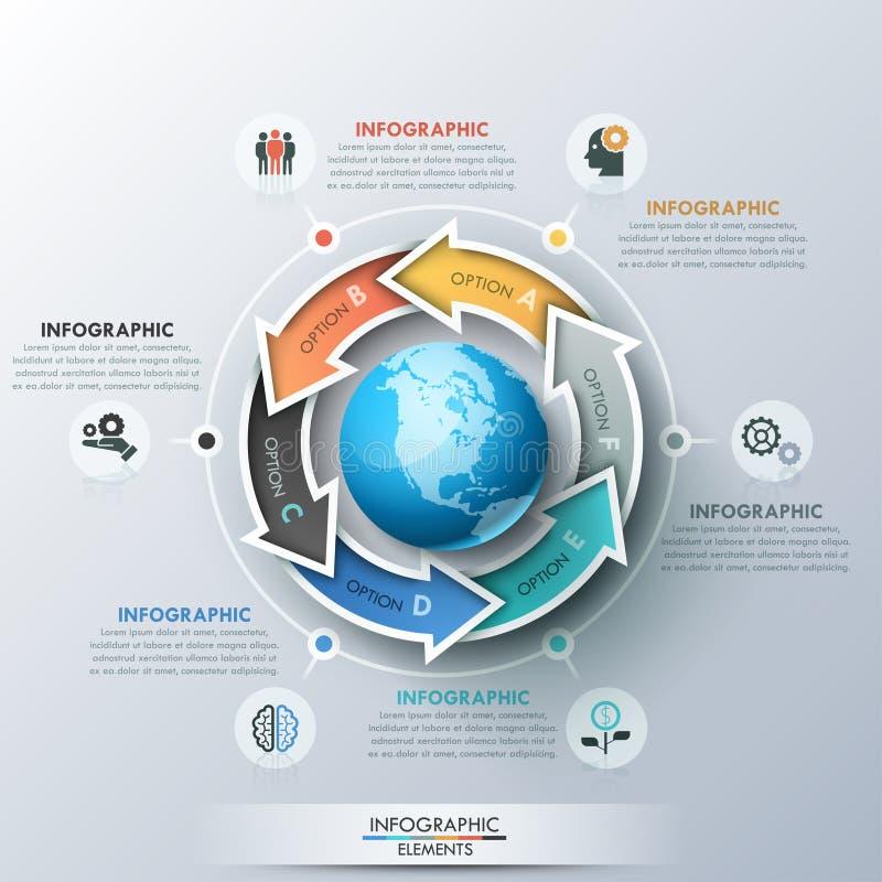A disposição de projeto infographic original com 6 rotulou as setas colocadas em torno da terra do planeta, dos ícones e das caix ilustração stock