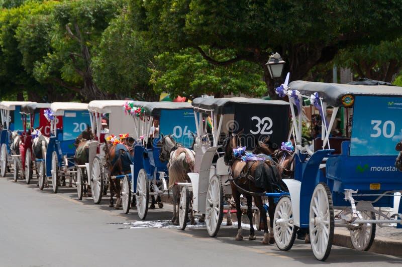Disposição de transportes velhos do cavalo no streetof foto de stock