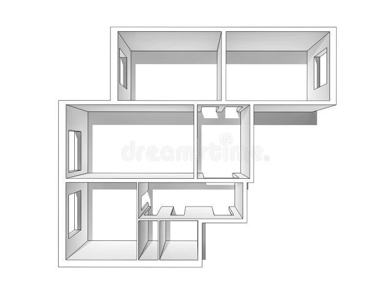 A disposição do apartamento Isolado em um fundo branco ilustração royalty free
