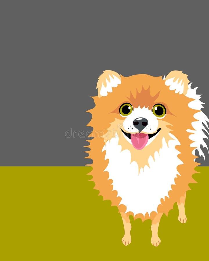 Disposição do cartaz com cão de Pomeranian ilustração royalty free