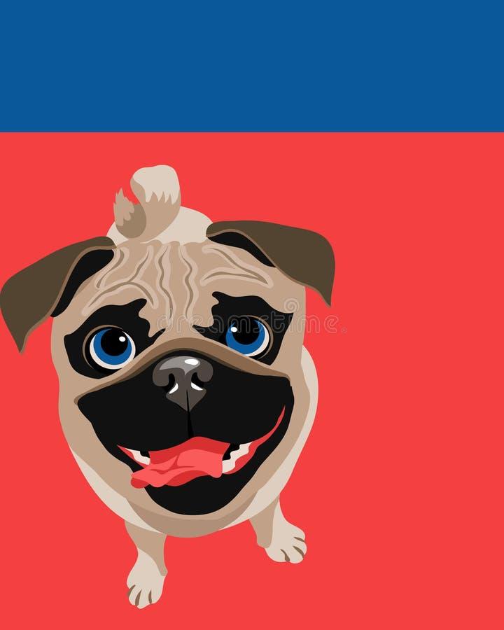 Disposição do cartaz com cão do Pug ilustração stock