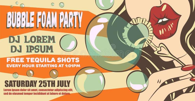 Disposição do cartaz do partido da espuma da bolha Mulher no estilo do pop art Menina que faz bolhas de sabão Ilustração denomina ilustração do vetor