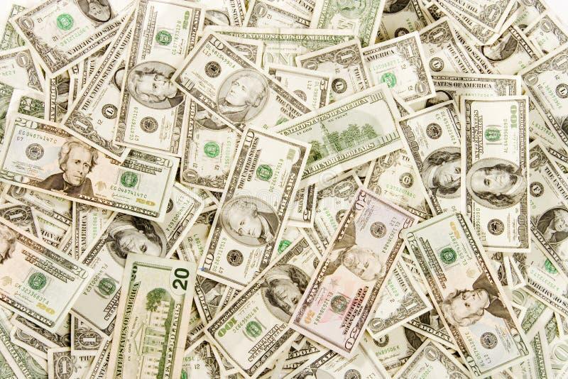 Disposição do dinheiro aérea foto de stock
