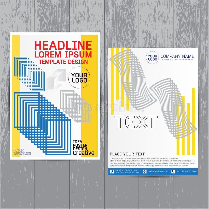 Disposição do inseto do folheto A4 no tamanho, vetor azul do molde do projeto do informe anual, fundo liso do sumário da apresent ilustração stock