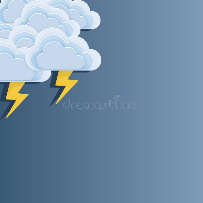 Disposição do mau tempo Artes de papel de nuvens de tempestade em um fundo azul ilustração stock