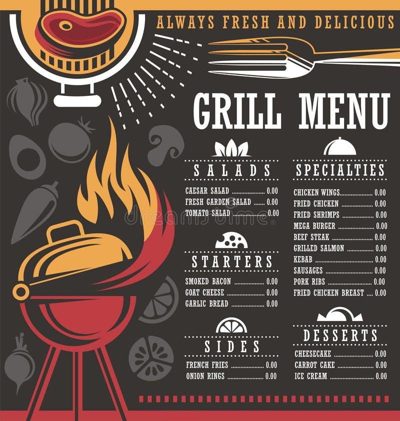 Disposição do menu do restaurante ilustração do vetor