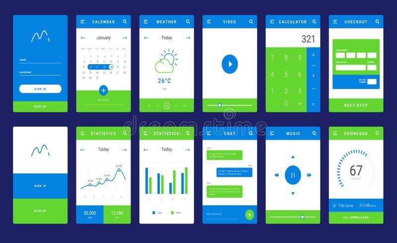 Disposição do molde de UI, de UX e de GUI para Apps móvel ilustração do vetor