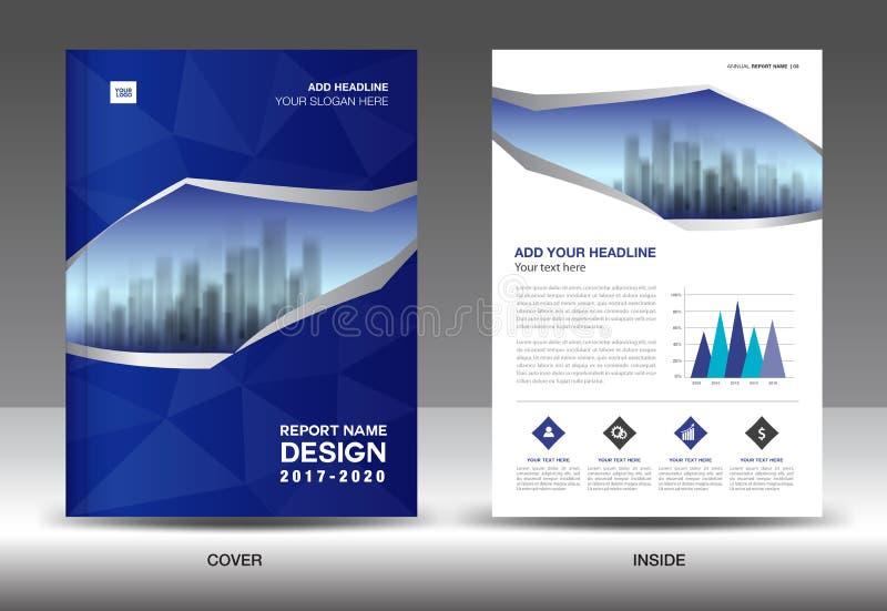 Disposição do molde do folheto, informe anual azul do projeto da tampa ilustração stock