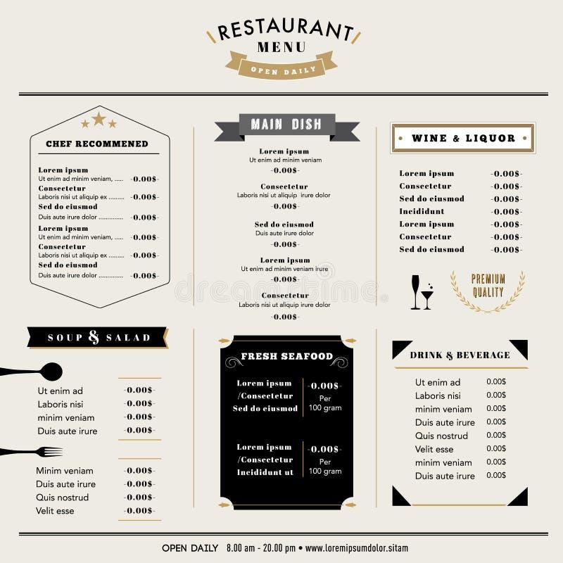 Disposição do molde do projeto do menu do restaurante com ícones e emblema ilustração royalty free