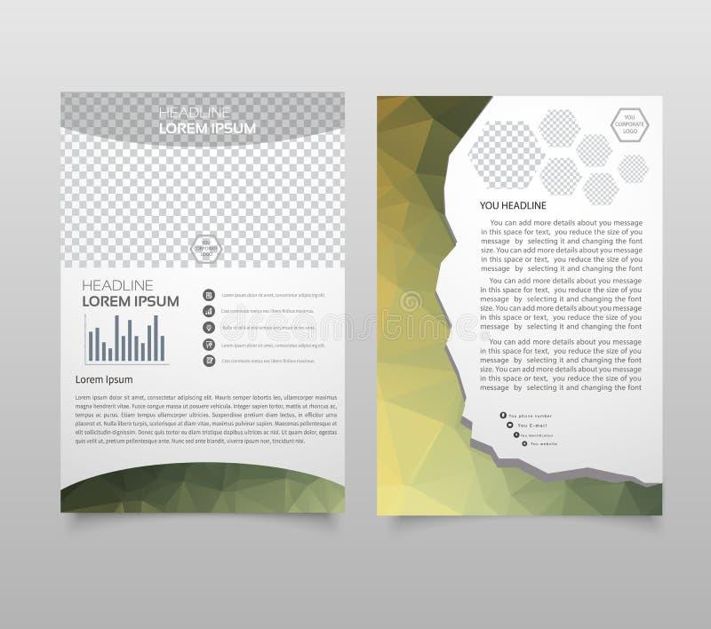 Disposição do molde do folheto, informe anual do projeto da tampa, compartimento, inseto, brochura do folheto no A4 com tex color ilustração do vetor