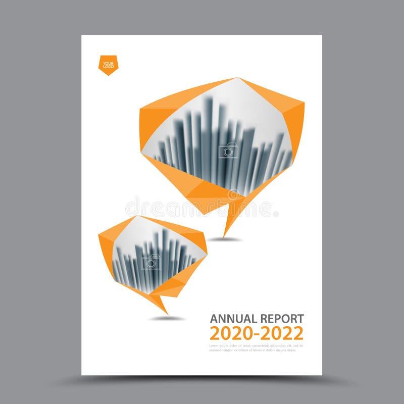 Disposição do molde do folheto, informe anual do projeto da tampa, compartimento, inseto ou brochura alaranjada no A4 ilustração do vetor