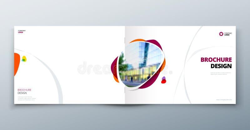Disposição do molde do folheto, informe anual do projeto da tampa, compartimento, inseto ou brochura no A4 com formas geométricas ilustração do vetor