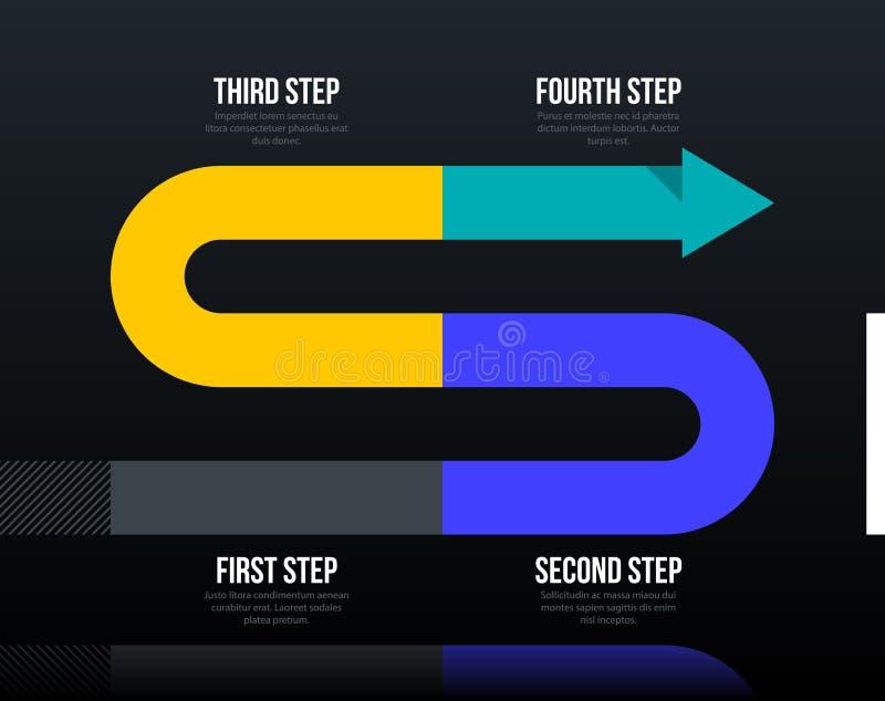Disposição do negócio da seta com quatro etapas no estilo incorporado elegante ilustração do vetor