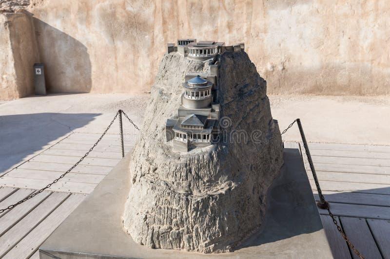 Disposição do palácio do norte nas ruínas da fortaleza de Masada, construída em 25 BC pelo rei Herod sobre uma das rochas de t foto de stock