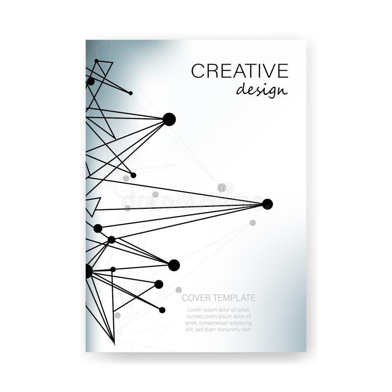 Disposição do projeto criativo do fundo do vetor do molde do livro da tampa do formato A4 para o folheto, o inseto e a estrutura  ilustração royalty free