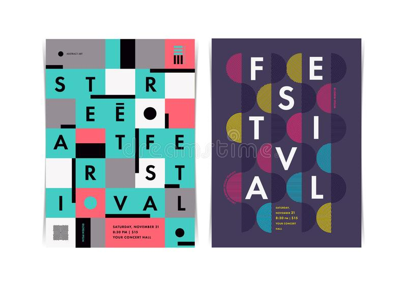 Disposição dos cartazes do festival com elementos geométricos coloridos ilustração royalty free