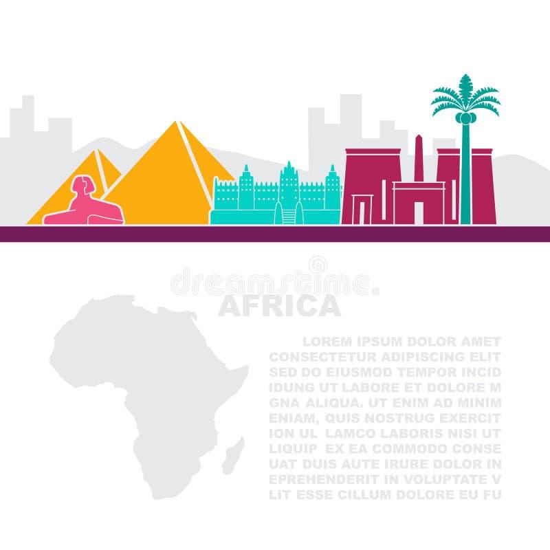 A disposição dos folhetos com as vistas África e do lugar para o texto ilustração do vetor