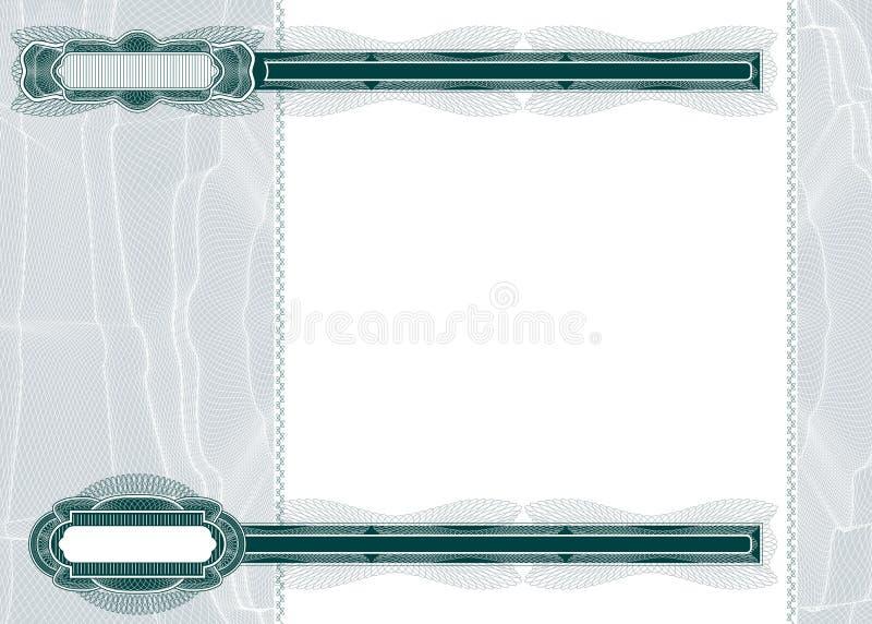 Disposição em branco para a nota de banco ou o comprovante ilustração stock