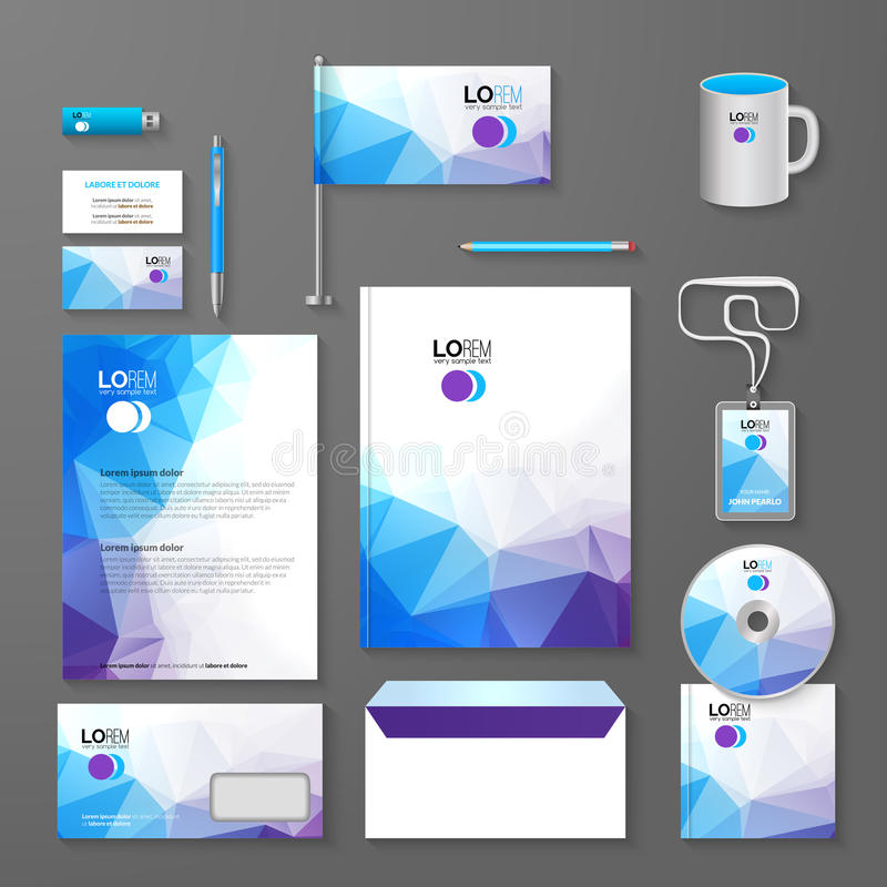 Disposição incorporada do molde do projeto da identidade do negócio do tipo Letra, cabeçalho, dobrador, cartão Triângulo da empre ilustração royalty free