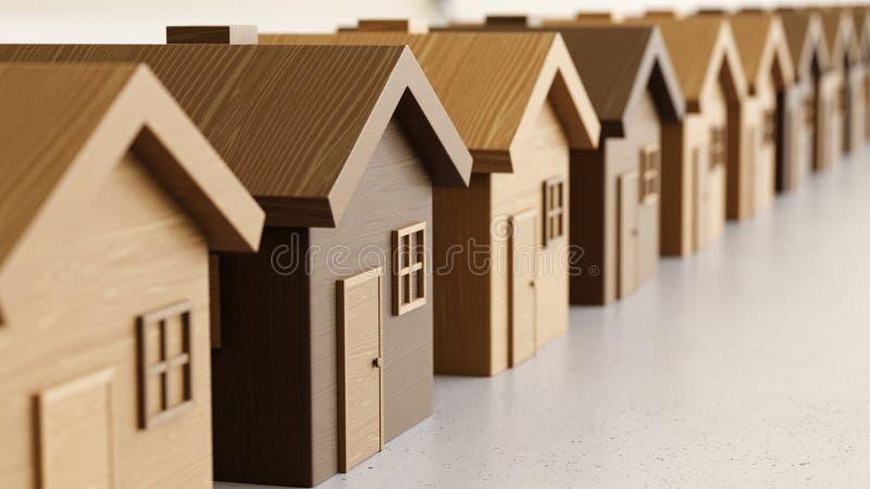 Disposição linear de Toy Wooden Houses em Gray Surface claro ilustração stock