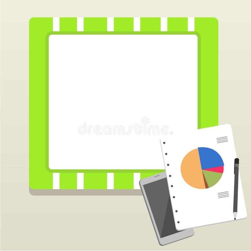 Disposição lisa da foto do comutado fora do dispositivo de Smartphone, da pena de esferográfica e do bloco de notas de RingBound  ilustração do vetor